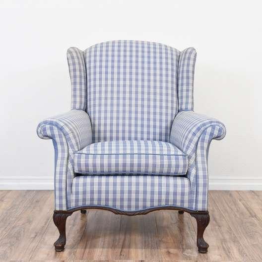Blue Plaid Wingback Armchair Loveseat Vintage Furniture