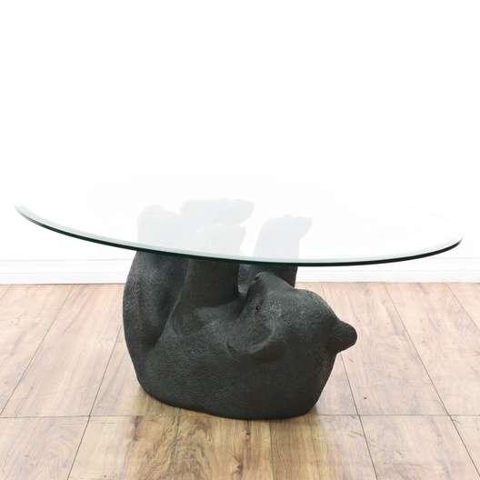 Bear Cub Glass Top Coffee Table Loveseat Vintage