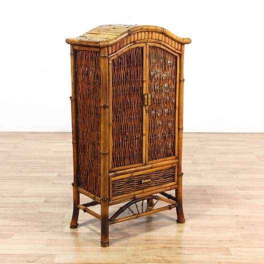 Tropical Woven Bamboo Cabinet Armoire W Drawer Loveseat