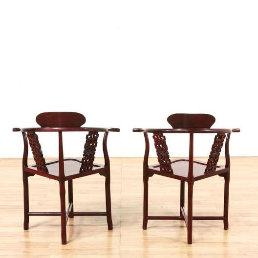 Pair of asian style rosewood corner chairs loveseat for Oriental furniture los angeles
