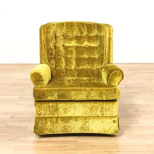 Quot La Z Boy Quot Yellow Tufted Velvet Swivel Rocking Chair