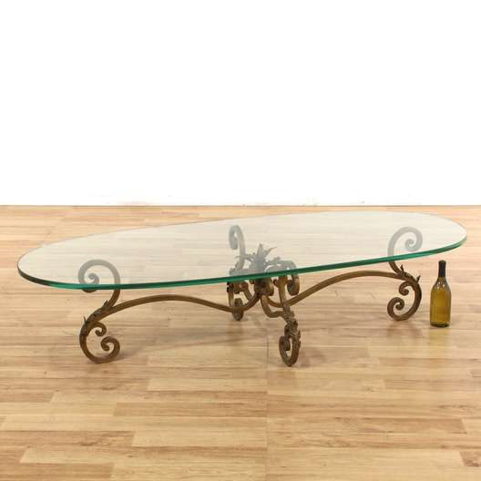 Oval Brass Base Glass Top Coffee Table Loveseat Vintage Furniture
