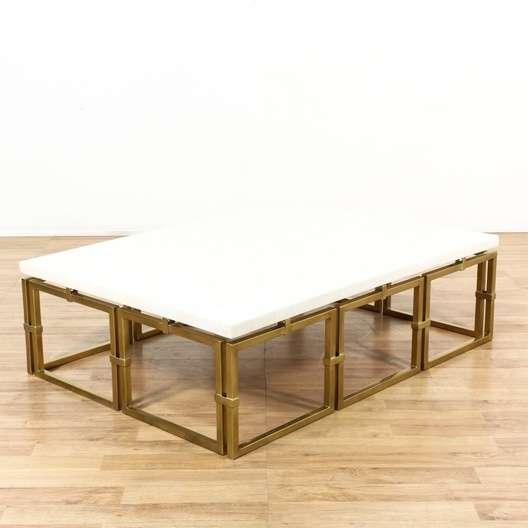 Hollywood Regency Brass Marble Coffee Table Loveseat Vintage Furniture Los Angeles
