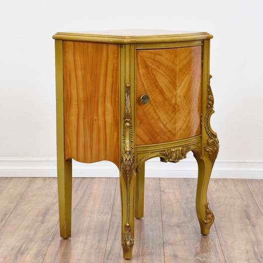 Next - Antique French Provincial Carved End Table Cabinet Loveseat