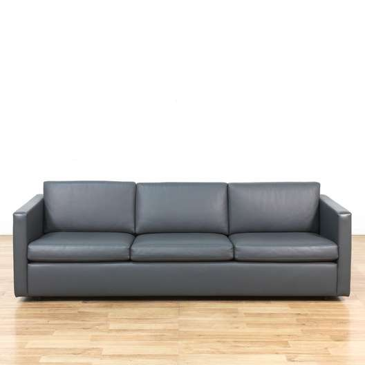 Gray Contemporary Modern Leather Sofa Couch   Loveseat ...