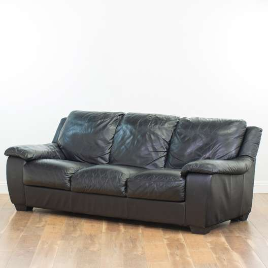 3 Seater Black Leather Sofa | Loveseat Vintage Furniture San Diego