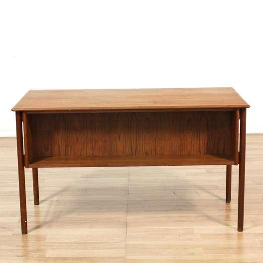 Danish modern teak desk w 7 drawers loveseat vintage for Danish modern la