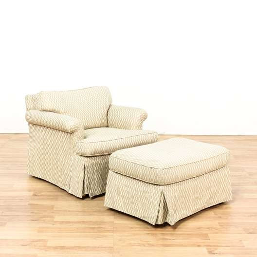 White & Beige Upholstered Armchair and Ottoman | Loveseat ...