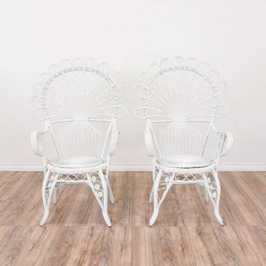 Pair Of White Woven Rattan Peacock Chairs Loveseat Vintage
