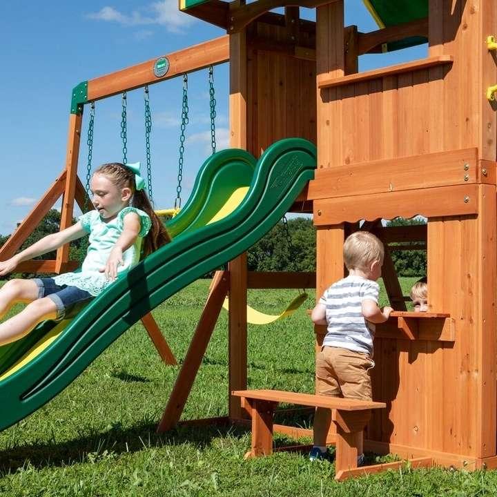 Backyard Discovery Somerset Cedar Swing Set | Loveseat ...
