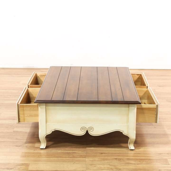 "Ethan Allen Trevor Coffee Table: ""Ethan Allen"" 2 Drawer Coffee Table"