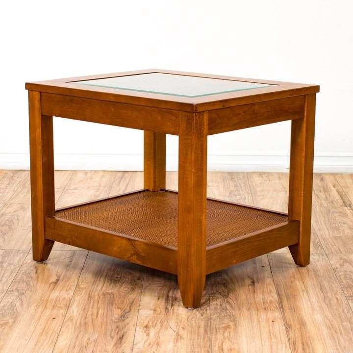 Boho Rattan Coffee Table: Shabby Chic Boho White Wicker Side Table