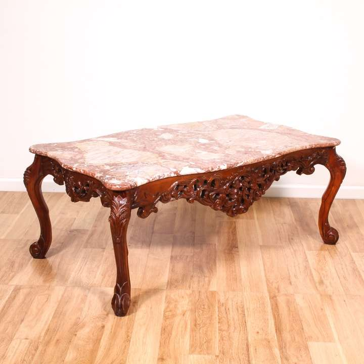 Cherry Carved Pink Marble Top Coffee Table Loveseat