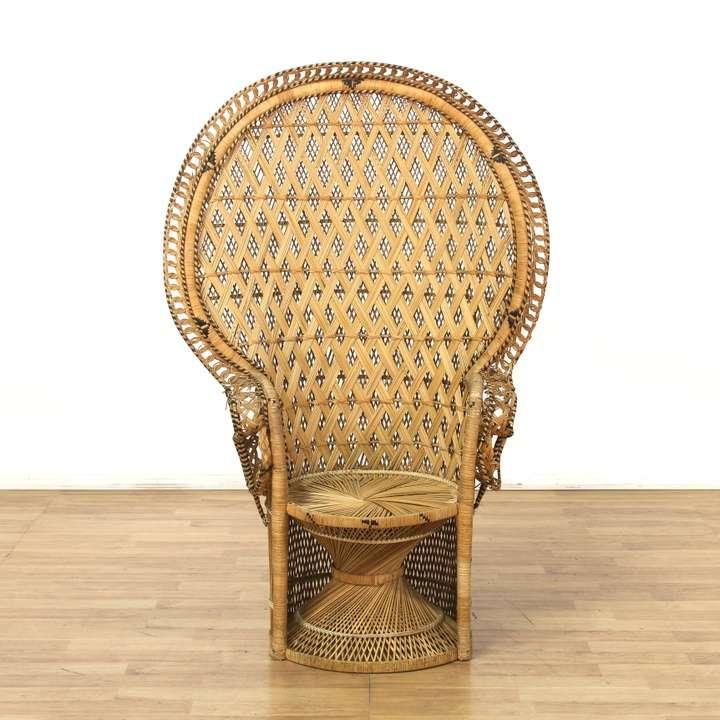 Bohemian Wicker Large Peacock Chair Loveseat Vintage Furniture Los Angeles