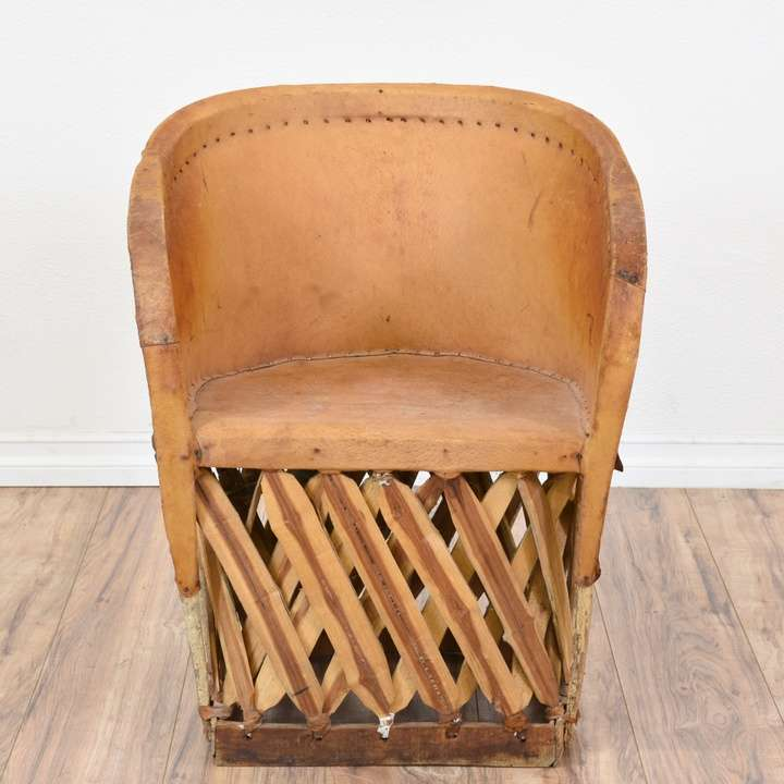 Pair Of Mexican Equipale Leather Chairs Loveseat Vintage