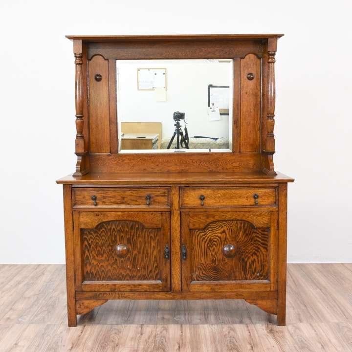 Antique Oak Sideboard Buffet W/ Mirror