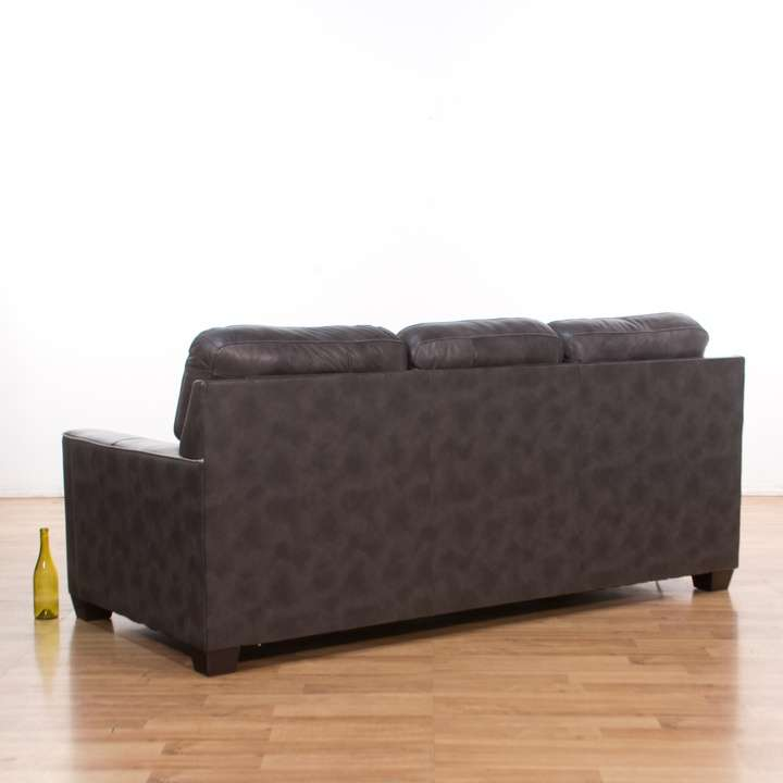 Leather Sofas In Los Angeles: Modern Grey Leather Sofa W/ Piping Detail