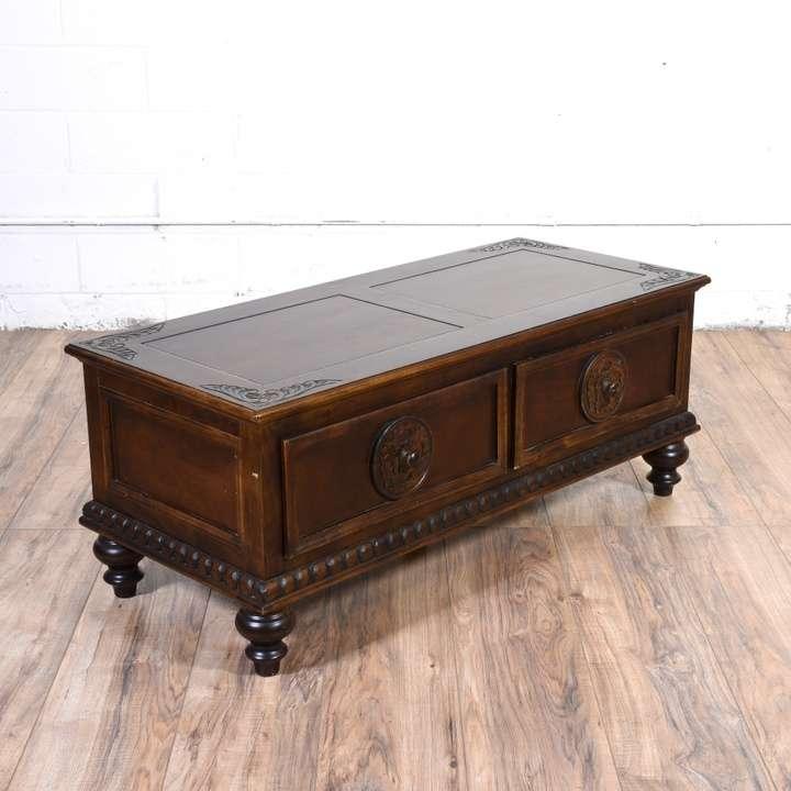 carved dark wood coffee table trunk loveseat vintage