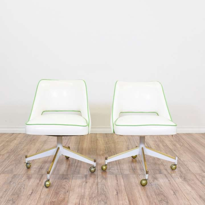 Pair of White Office Chairs w/ Green & Gold Trim ...