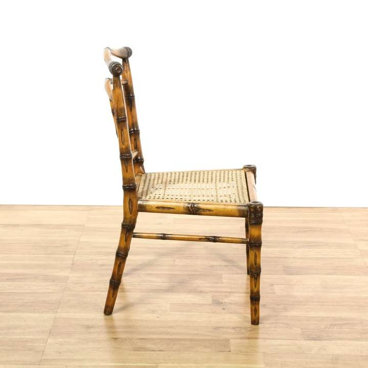 Set Of 6 Faux Bamboo Cane Dining Chairs Loveseat Vintage