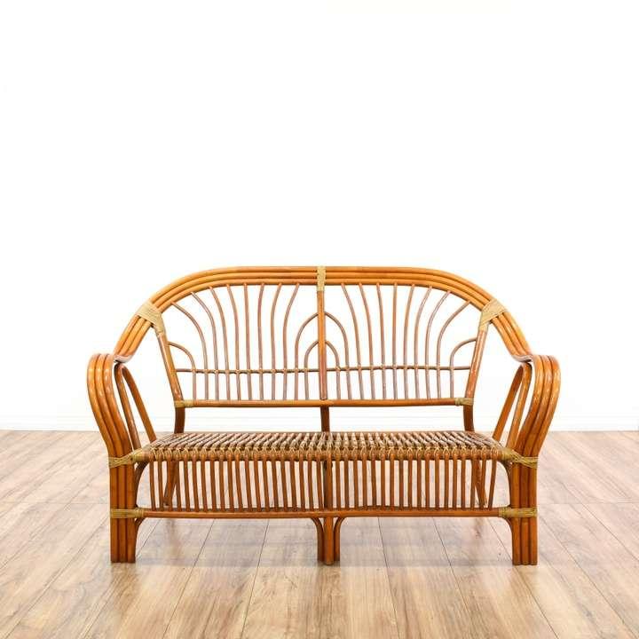 Macys Furniture San Diego: Bohemian Curved Rattan Loveseat Sofa