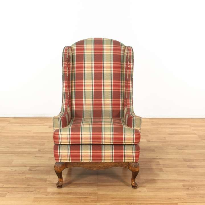 Red & Cream Traditional Plaid Wingback Armchair 1 ...