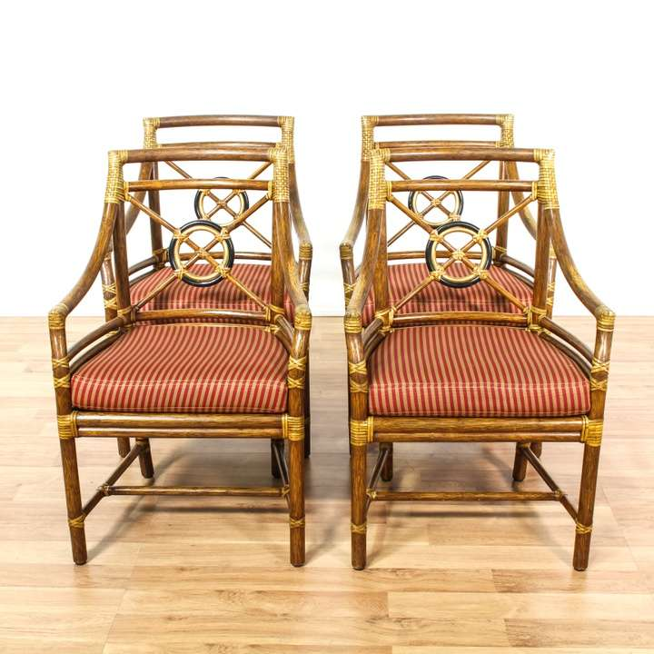 Set Of 4 Quot Mcguire Quot Bamboo Amp Reed Dining Chairs Loveseat