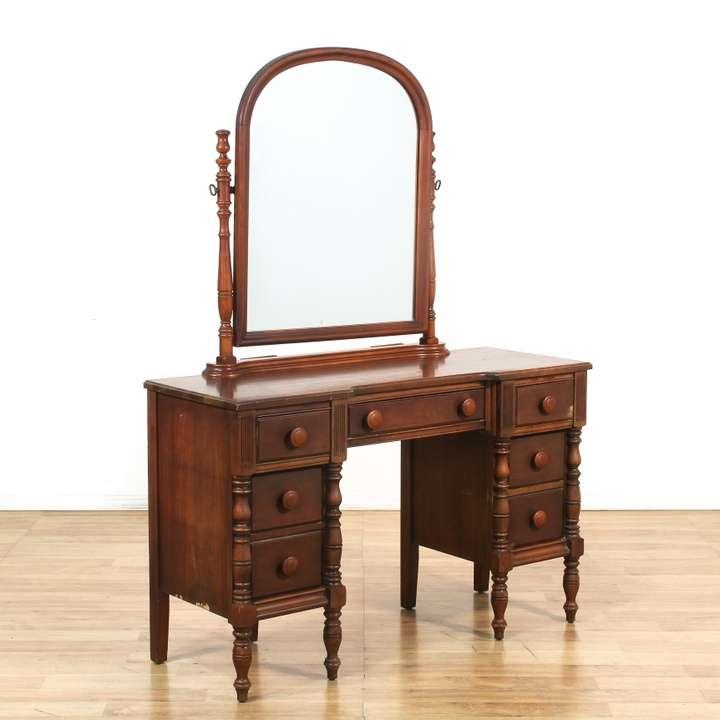 Antique 6 Drawer Vanity W Oval Mirror Loveseat Vintage