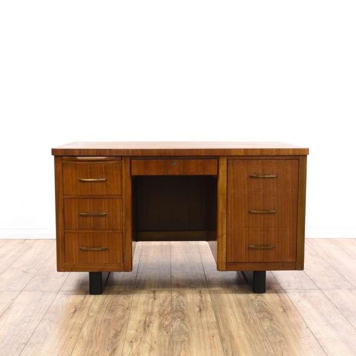Brown Mid Century Modern 8 Drawer Tanker Desk Loveseat