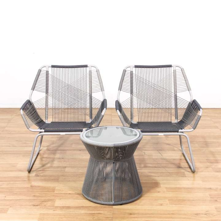 Buy Used Patio Furniture Los Angeles: Pair Of Modern Patio String Chairs W/ Side Table
