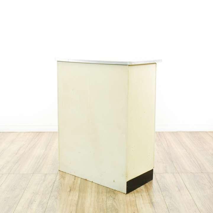 White enamel kitchen cabinet loveseat vintage furniture for White enamel kitchen cabinets