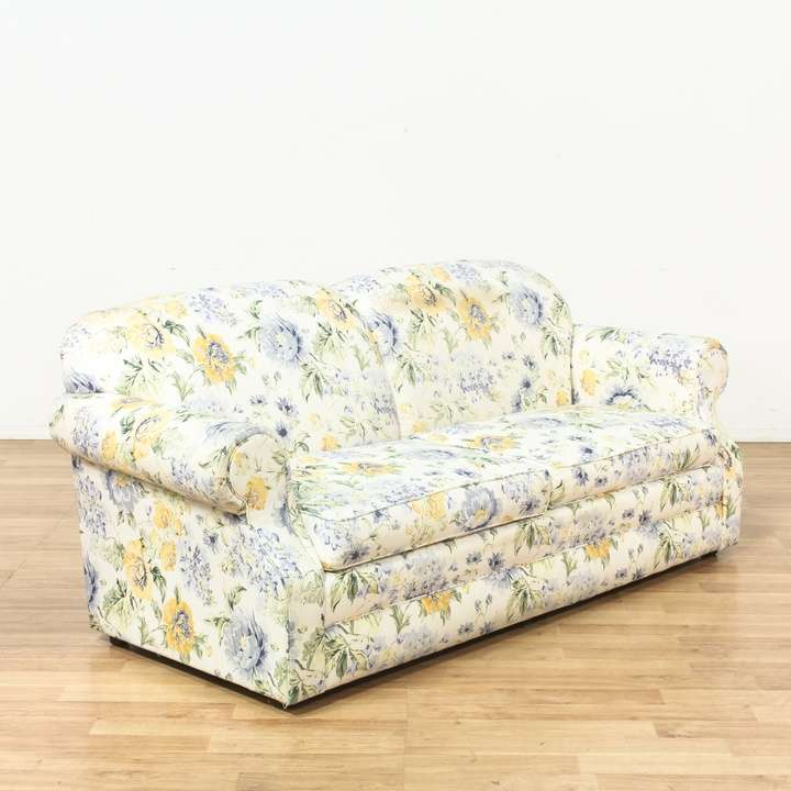 Blue Yellow Cottage Chic Floral Sofa Couch