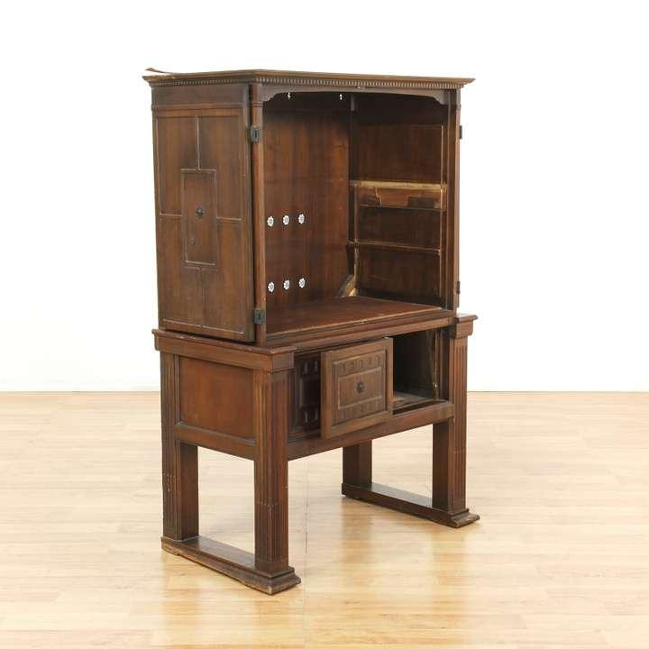 Victrola antique carved wood cabinet loveseat vintage for Reclaimed wood furniture los angeles