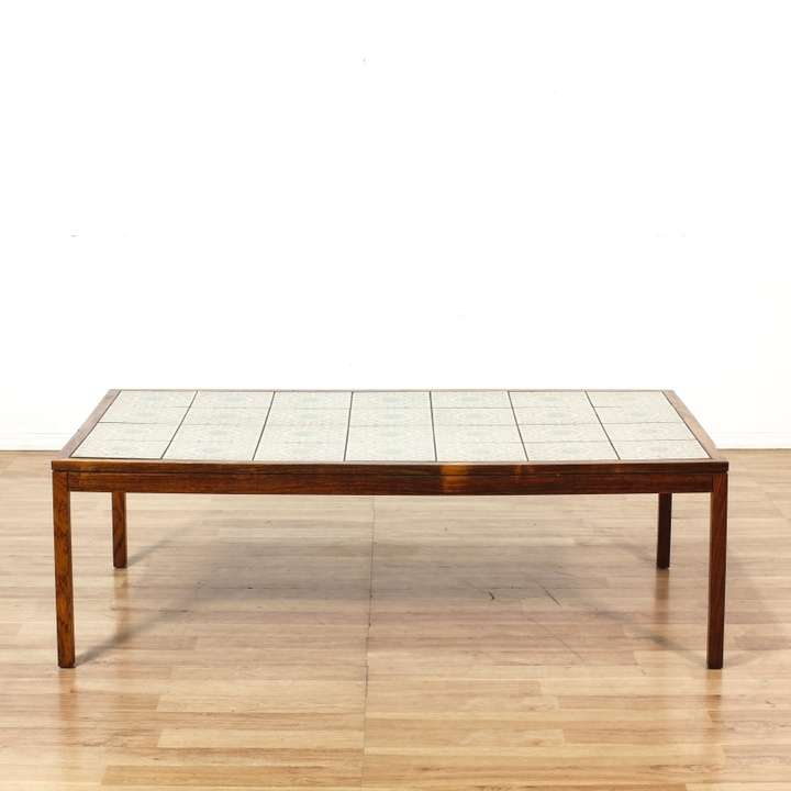 Rosewood Danish Modern Coffee Table W Tile Top Loveseat Vintage Furniture Los Angeles