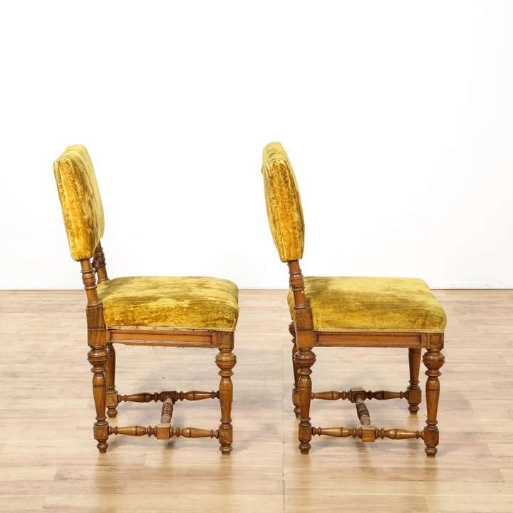 Pair Of Mustard Yellow Velvet Accent Chairs Loveseat