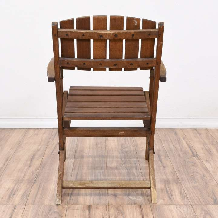 Pair of Folding Wood Slat Outdoor Chairs | Loveseat ...