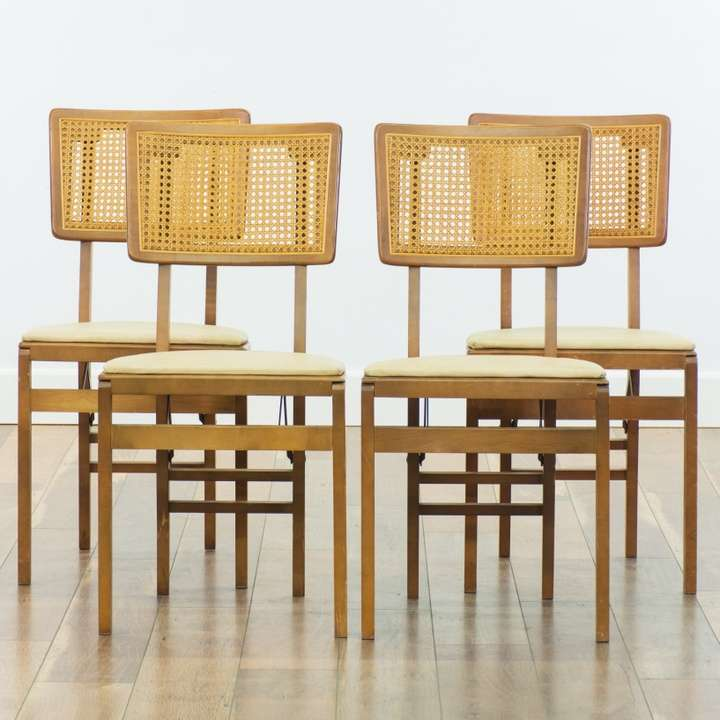 Set Of 4 Vintage Stakmore Cane Back Folding Chairs