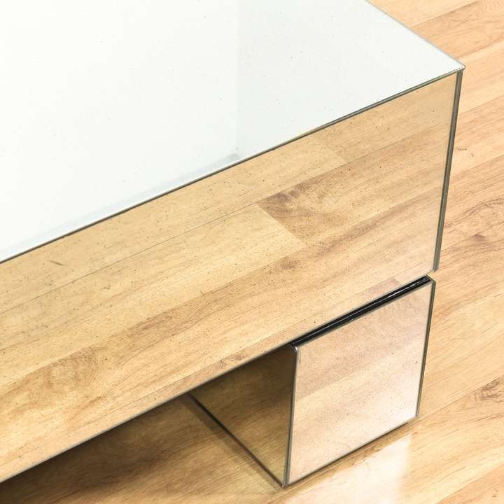 """Bernhardt"" Mirrored Modern Square Coffee Table"