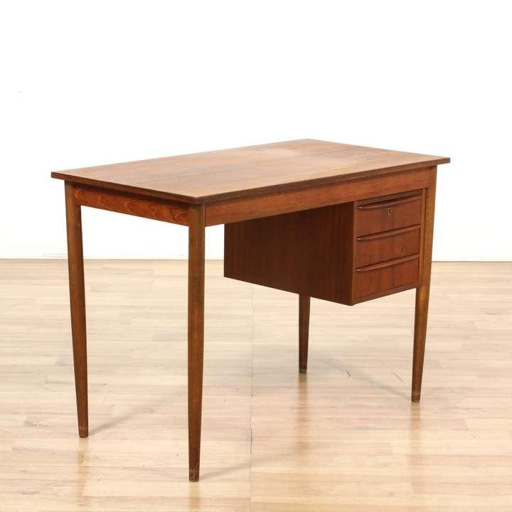 Teak danish modern 3 drawer desk loveseat vintage for Danish modern la