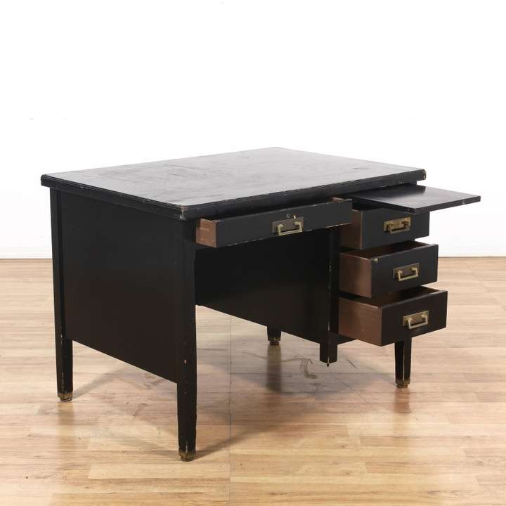 Black asian inspired 4 drawer writing desk loveseat for Asian inspired desk