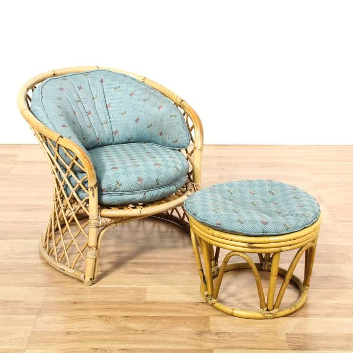 Patio Chairs Los Angeles: Bamboo Patio Set Armchairs W/ Butterfly Fabric