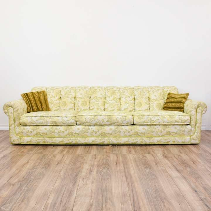 Long Beige Green Fl Paisley Print Sofa Loveseat Vintage Furniture San Go