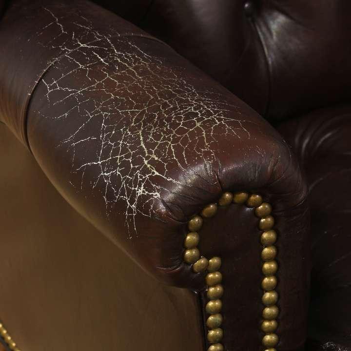Pleasing Schafer Bros Tufted Leather Wingback Armchair Loveseat Machost Co Dining Chair Design Ideas Machostcouk