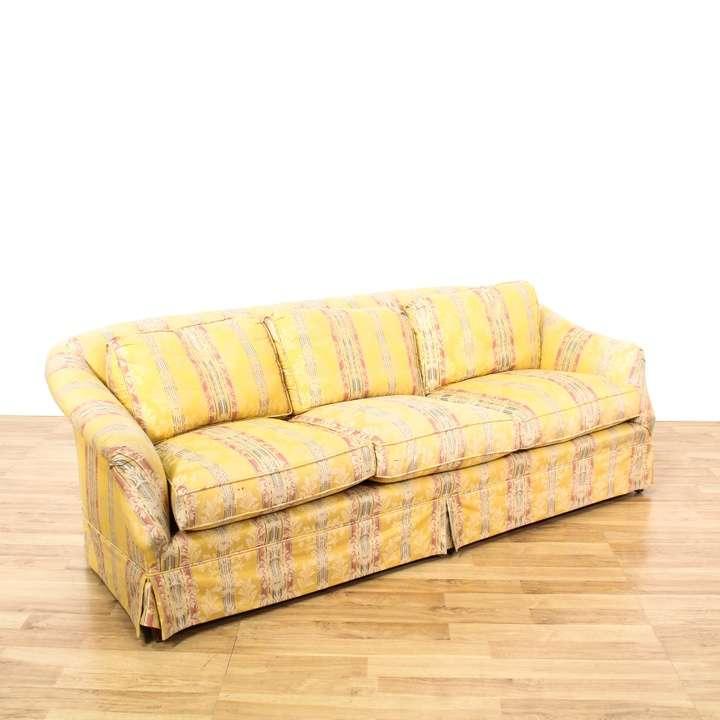 Yellow Striped Damask Cottage Chic Sofa Loveseat Vintage