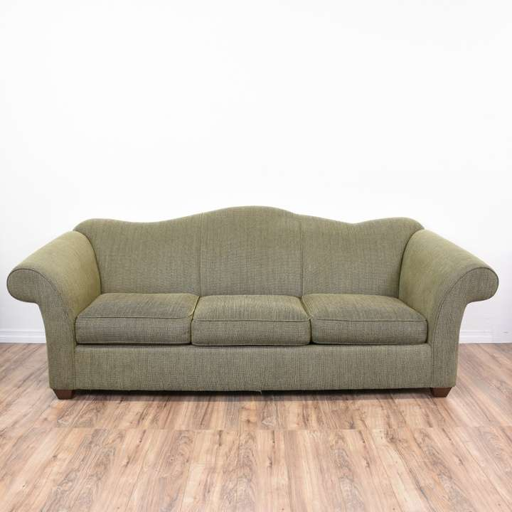 """Bauhaus"" Green Tweed Camelback Sleeper Sofa"