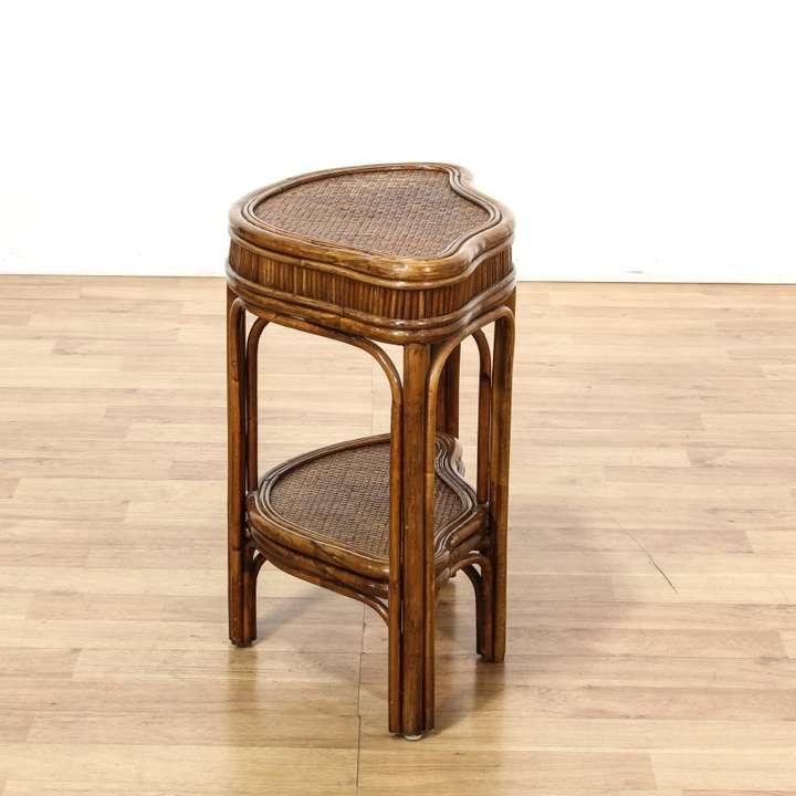 Small Wicker 2 Tier Table Loveseat Vintage Furniture Los