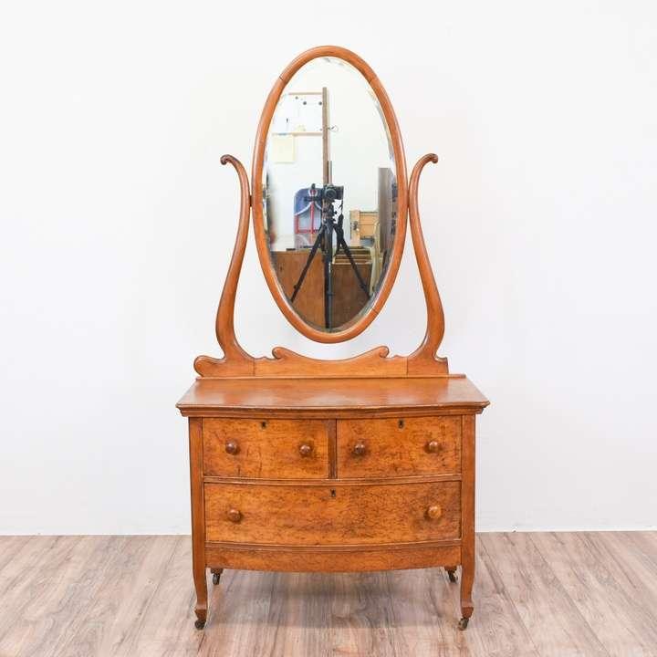 Antique Birdseye Maple Vanity Dresser w/ Mirror   Loveseat Vintage Furniture  San Diego - Antique Birdseye Maple Vanity Dresser W/ Mirror Loveseat Vintage