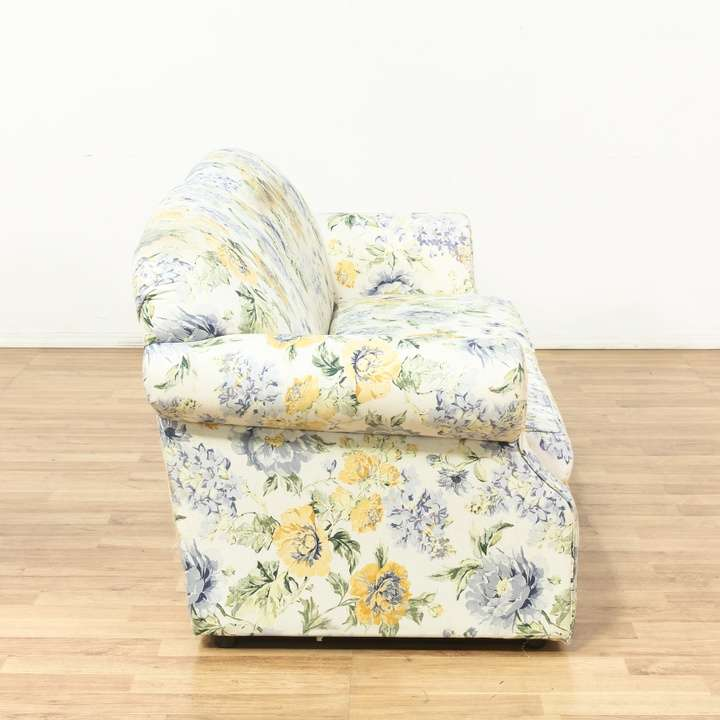 Blue yellow cottage chic floral sofa couch loveseat for 80s floral couch