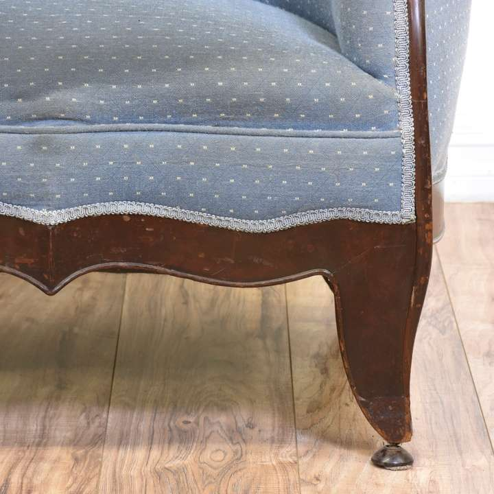 Blue Polka Dot Settee Couch Loveseat Vintage Furniture