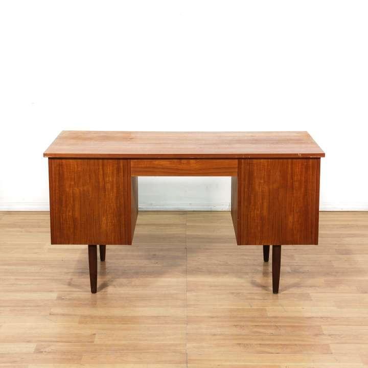 Danish modern 9 drawer teak kneehole desk loveseat for Danish modern la
